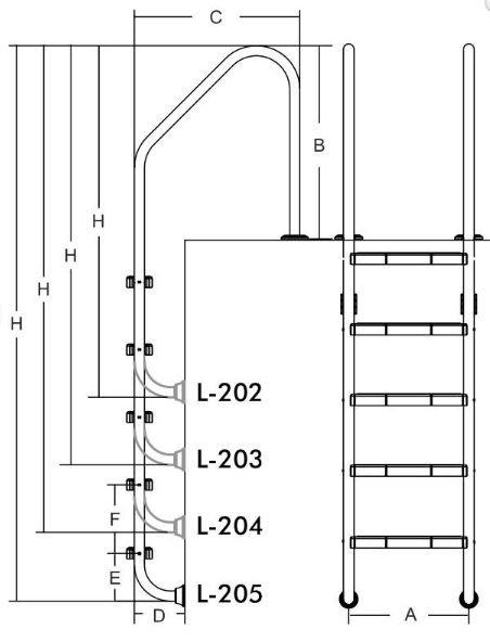 Лестница для бассейнов серии L, 2 ступени, L202