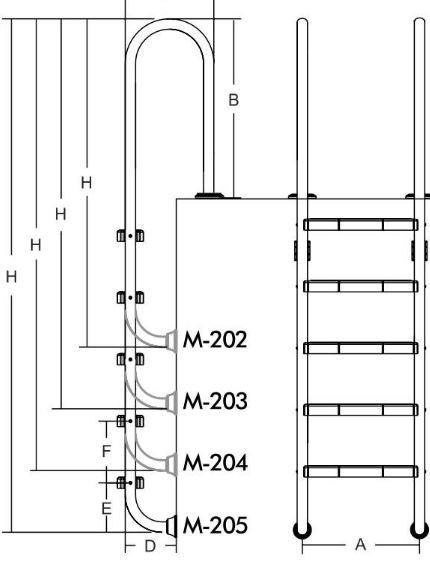 Лестница для бассейнов серии M, 2 ступени, M202