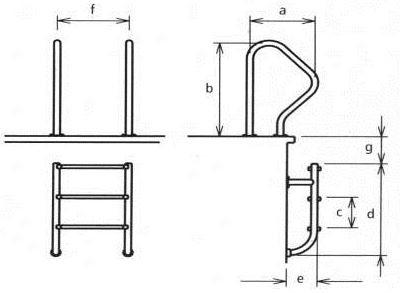 Лестница для бассейнов серии WALL, 2 ступени